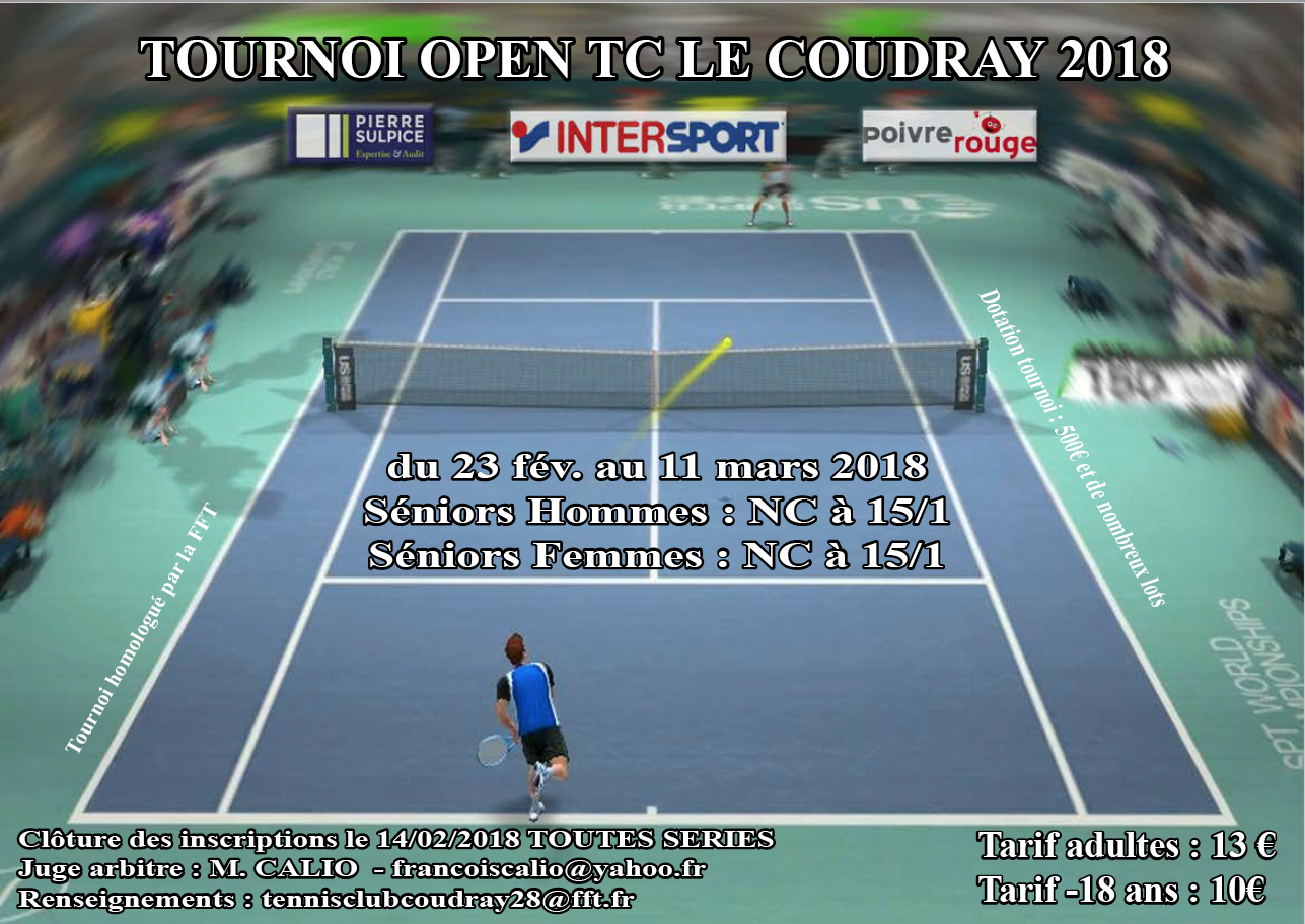 Tournoi open tc le coudray 2018 tennis club de l ves for Club de tennis interieur saguenay